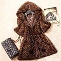 Новинка женщин подлинной норковая шуба леди теплая зима норки куртка с капюшоном натурального норки верхней одежды