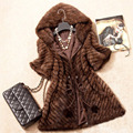New Fashion Women Genuine Mink Fur Coat Lady Warm Winter Mink Fur Jacket With Hood Natural Mink Fur Outwear