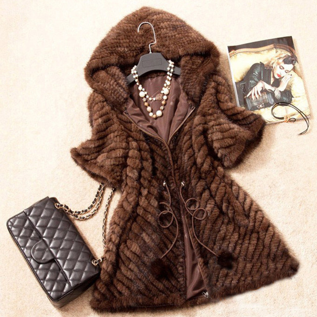 New Fashion Women Genuine Mink Fur Coat Lady Warm Winter Mink Fur Jacket With Hood Natural Mink Fur Outwear