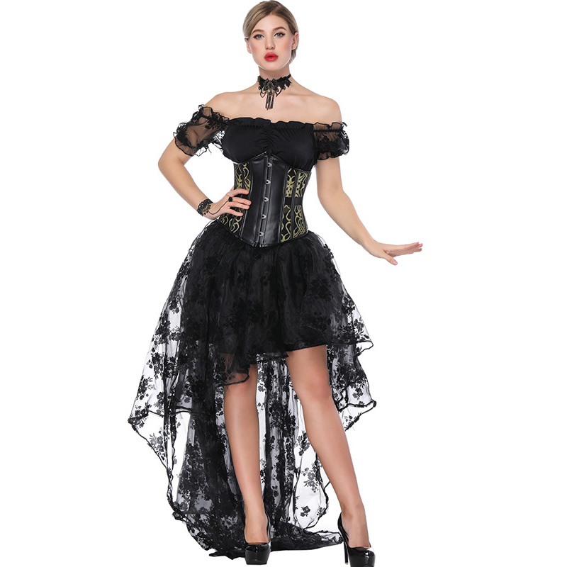Women Sexy Gothic Victorian Steampunk   Corset   Dress Leather Overbust   Corsets   And   Bustiers   Lace Black Wedding Party   Corset   Dress