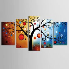 Art Painting 5Pcs Set Painted Colour Red Rich Tree Abstract Landscape Wall Home Decor Oil Painting On Canvas(China)