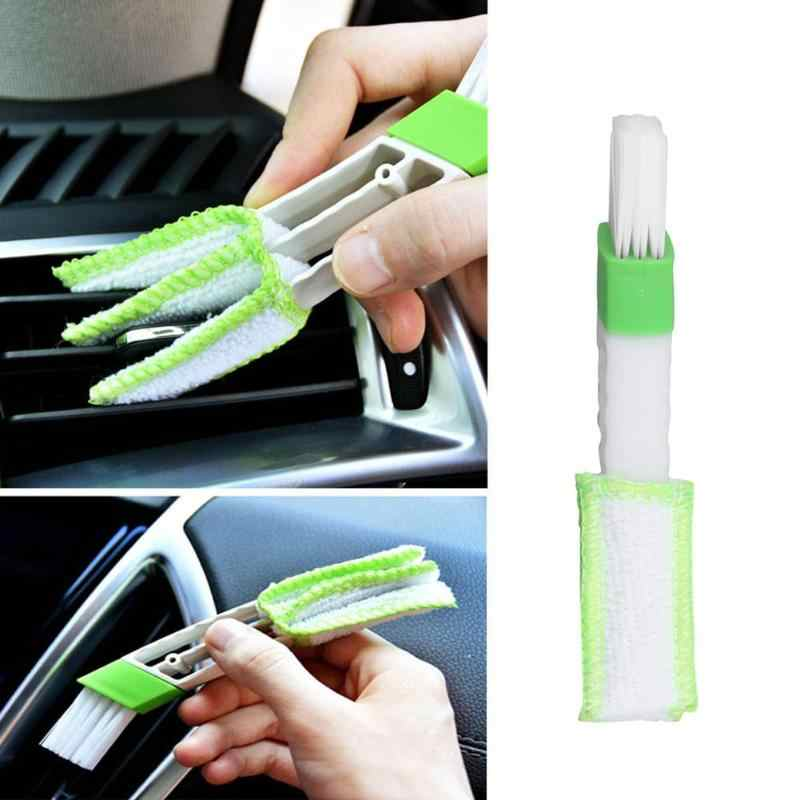 Auto A Doppia Testa Air Vent Collettore di Polveri Console Finestra Tende Brush Cleaner
