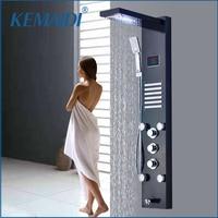 KEMAIDI Black Rain Waterfall Shower Panel Faucet LED Light Body Massage Jets Shower Faucet Brass Tub Spout Shower Column Tower