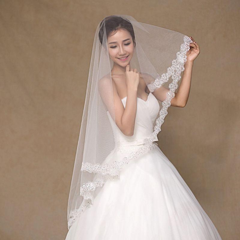 1.5 M 1 Layer Bridal Wit Lange Wedding Tule Sluier Glitter Pailletten Geborduurde Pruimenbloesem Rand Huwelijk Effen Kleur Geen Kam Duidelijk Effect