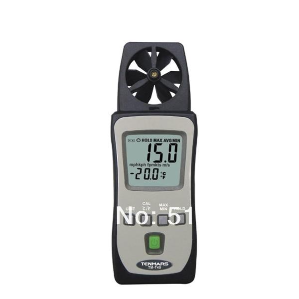 Mini Pocket Air Velocity Temperature Wind Speed Meter Anemometer Tenmars TM-740 peakmeter ms6252b digital anemometer air speed velocity air flow meter with air temperature humidity rh usb port