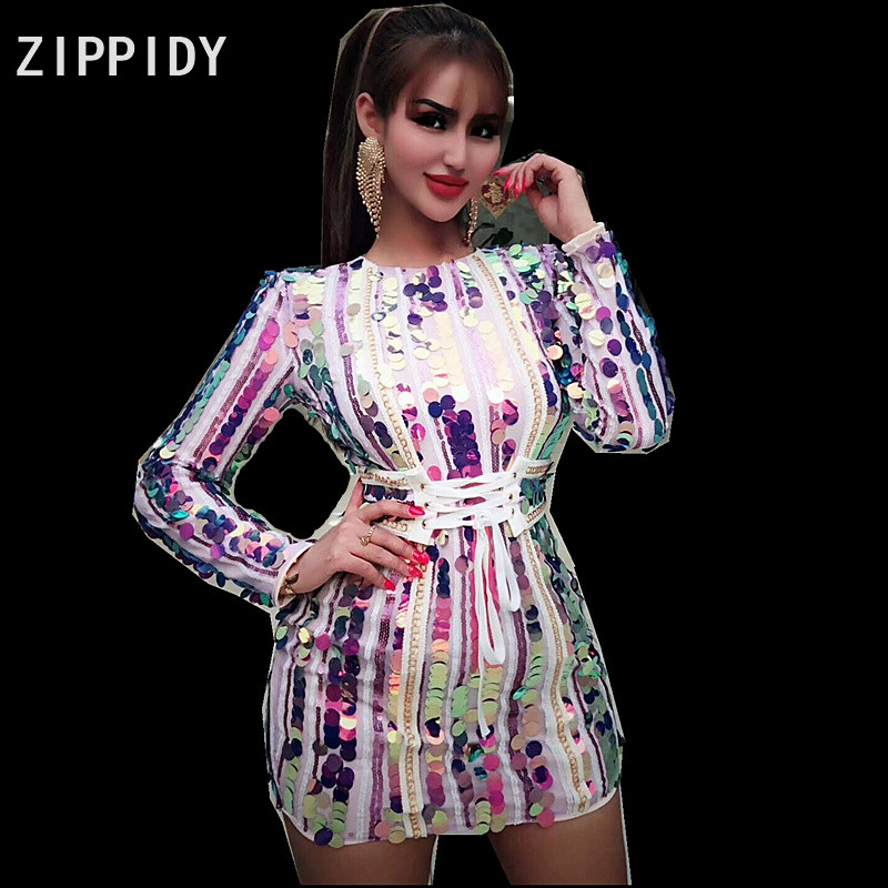 25ae0f8b1b Detail Feedback Questions about 3 Colors Sequins Bright Mini Dress ...