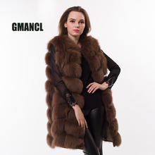 GMANCL Real Fox Fur Vest Long Style Coat Female Jacket Striped Sewed Fashion Slim Real Fur Sleeveless Covered Button Women Vest