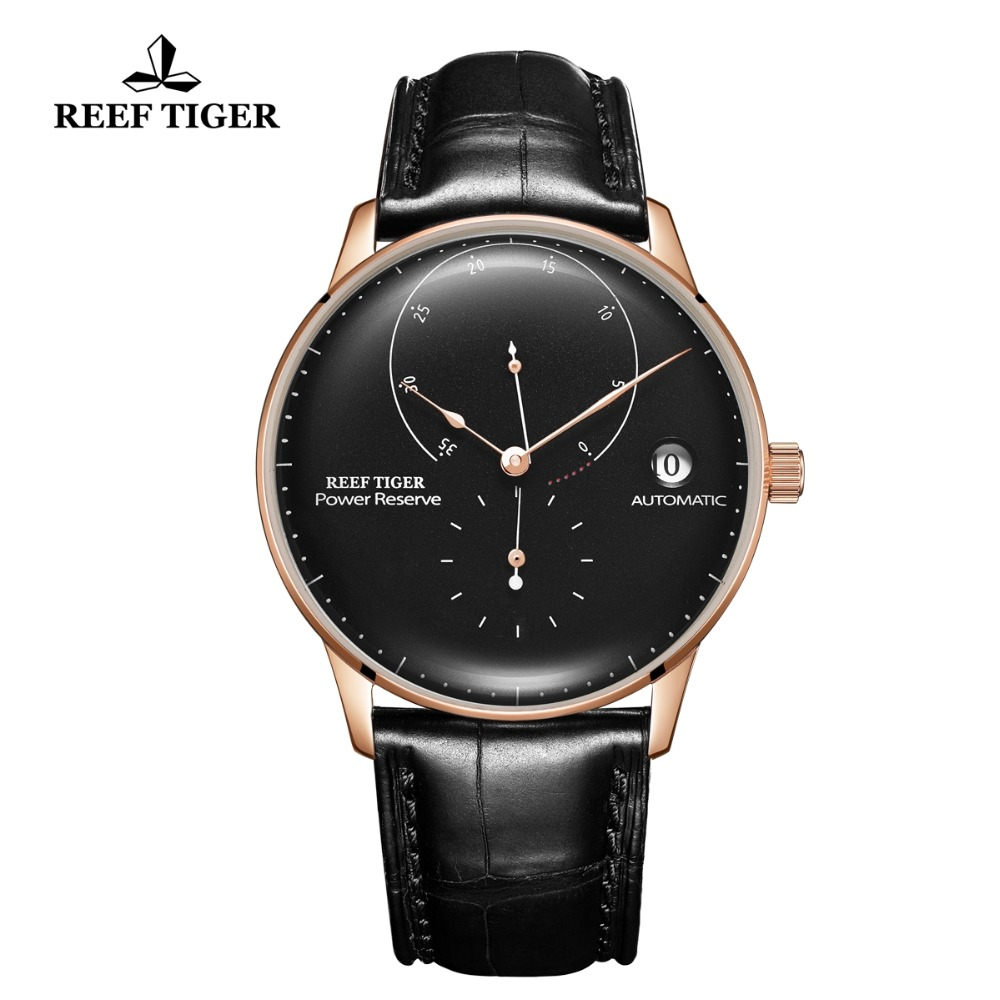 Reef Tiger/RT Top Brand Luxury Ventige Watches Mens Rose Gold Waterproof Automatic Watch Genuine Leather Strap Watches RGA82B0-2Reef Tiger/RT Top Brand Luxury Ventige Watches Mens Rose Gold Waterproof Automatic Watch Genuine Leather Strap Watches RGA82B0-2
