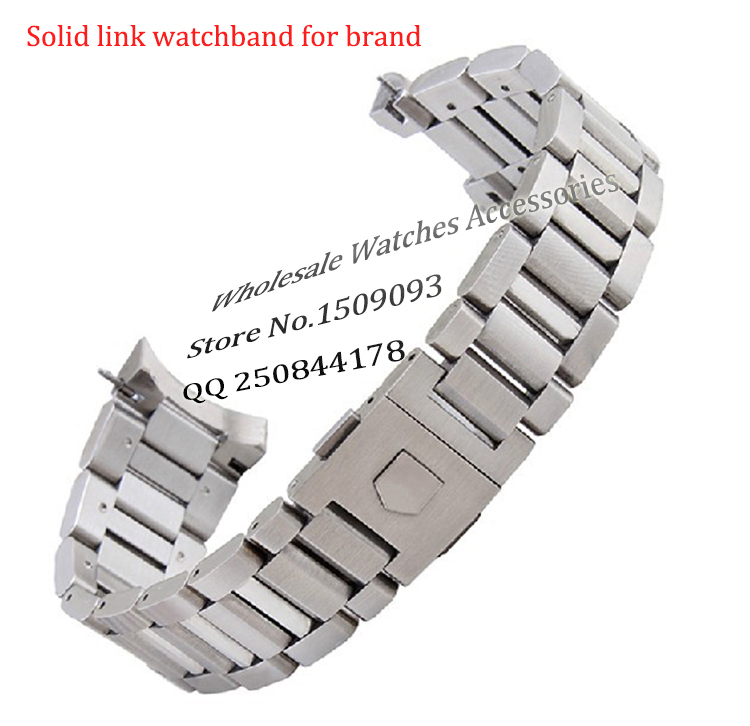 New arrival black Stainless steel Watchband Bracelets Curved end Solid Link 22mm for Brand steel watch men High Quality цена