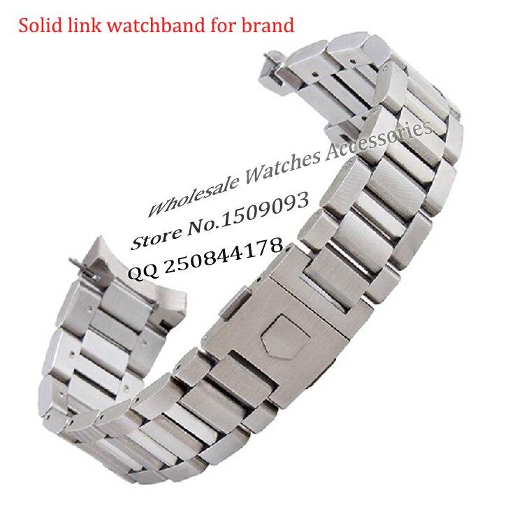 Nouvelle arrivée noir en acier Inoxydable Bracelet Bracelets Curved end Solide Lien 22mm pour Marque montre en acier hommes de Haute Qualité