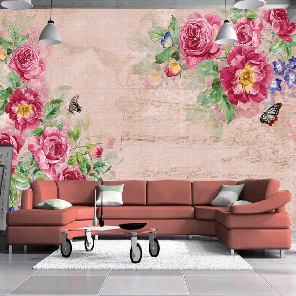 Bande Papier Peint Salon っpeinture murale personnalisée papier peint fleur rétro