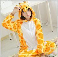 New Flannel Anime Pajama Hot Unisex Adult Pajamas Giraffe Cosplay Costume Animal Onesie Sleepwear S XL