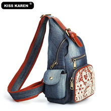 KISS KAREN Vintage Floral Lace Sling Bags for Women Denim Chest Bag Jeans Casual Daypack Fashion Shoulder Travel Backpack Bags kiss karen floral lace women messenger bag vintage fashion studded denim bag women s shoulder bags summer jeans crossbody bags
