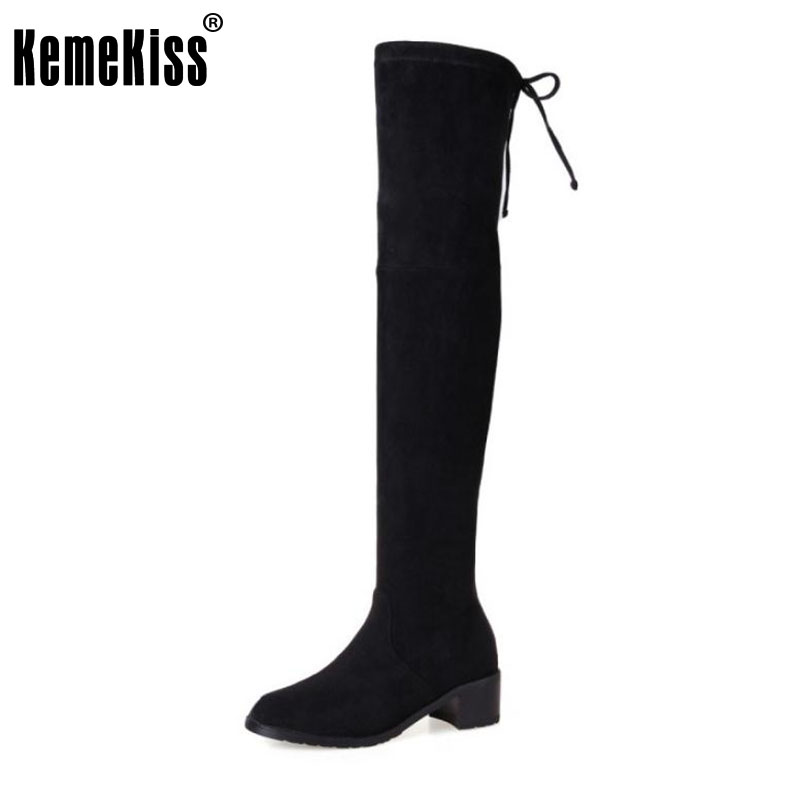 KemeKiss Women Real Leather Elastic Boots High Heel Boots In Winter Shoes Cross Strap Over Knee Boots Women Footwears Size 34-39 corporate real estate management in tanzania