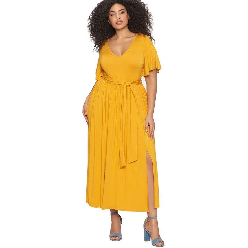 Summer Women Dress Plus Size Sexy Party Elegant Yellow Loose Maxi Dresses Belt Split Long Dress Casual Large Size Vestidos 3XL