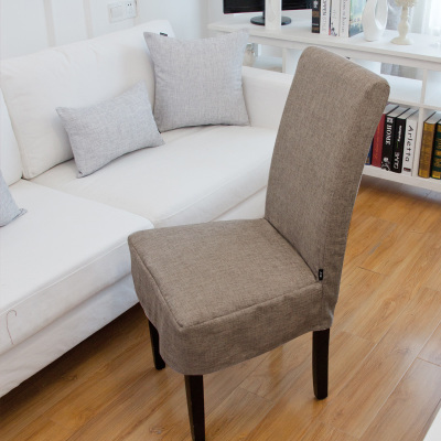 Delightful Customize Quality One Piece Dining Chair Ocver Thickening Quality Linen  Chair Cover
