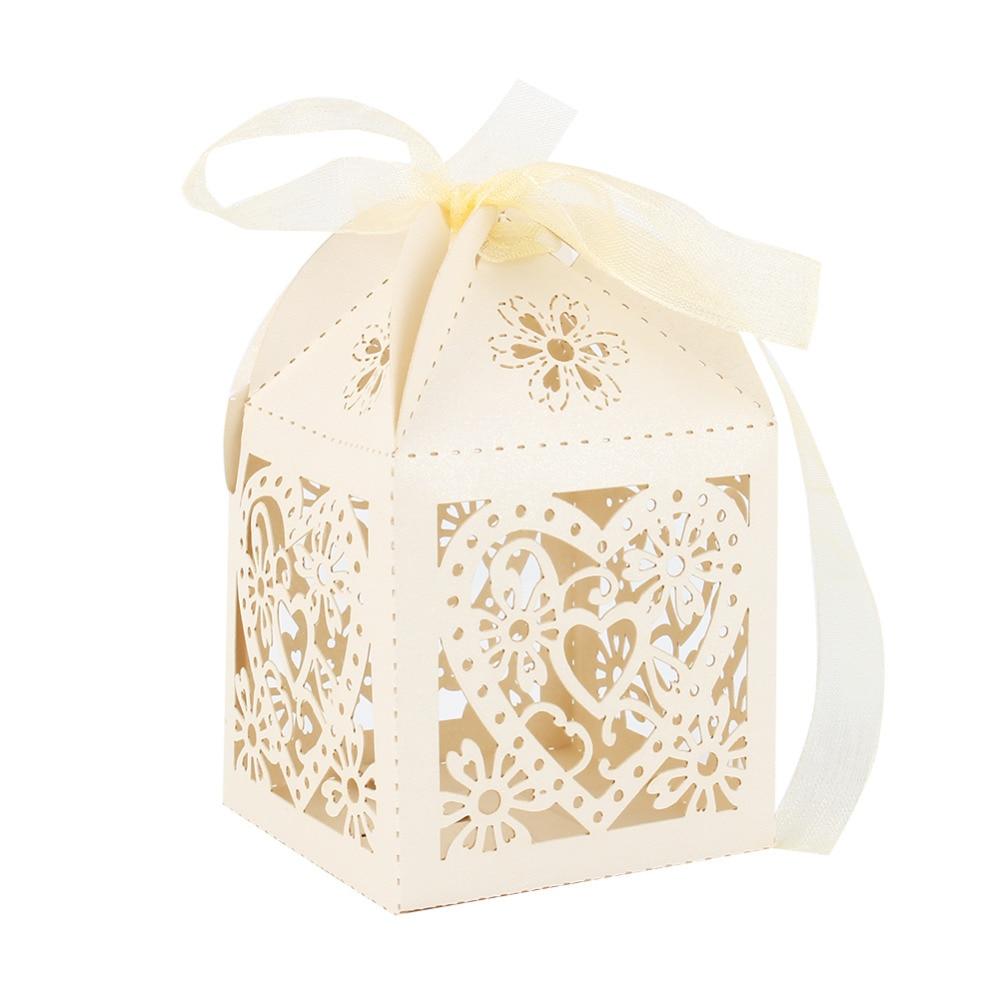 W 10Pcs/bag Love Heart Favor Ribbon Gift Box Party Wedding Hollow ...