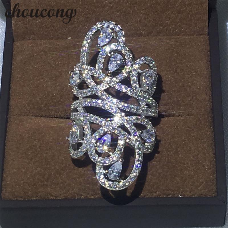 Choucong De Luxe Design Femmes Mode Bijoux 10ct 5A Zircon Cz 925 En Argent Sterling Engagement Band Anneau De Mariage