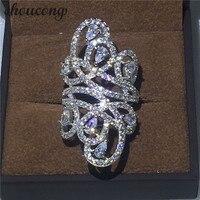Choucong Luxury Design Mujeres Moda Joyería 10ct 5A Zircon Cz Engagement Wedding Band Anillo de Plata Esterlina 925