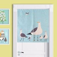 Nordic Bird Family Flowers Cartoon Simple Abstract Door Curtain Linen Tapestry Study Bedroom Home Decor Bedroom