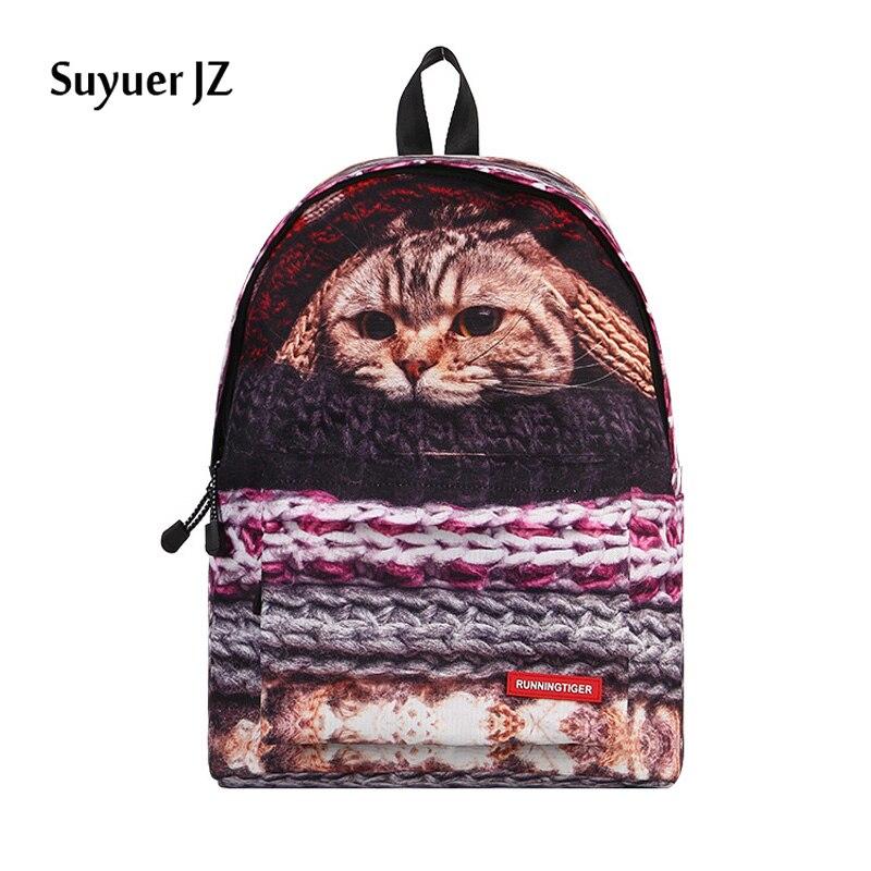 2017 Fashion Women Backbag 3D Animal Backpacks Cute Cat Dog School Bagpack for Girls Students Children's School Bag Backpack cute 18 inch animal cat dog printing