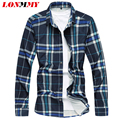 LONMMY M-7XL Plaid shirt men Floral Long sleeve plus size Mens dress shirts slim fit mens shirts flower Fashion camisa social