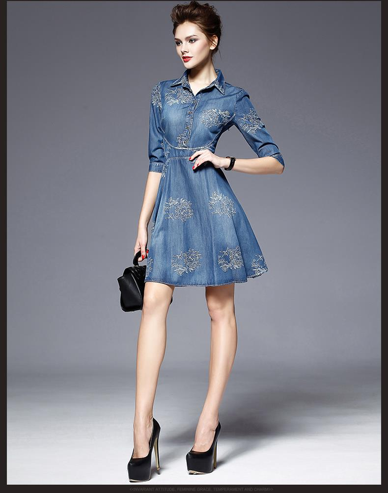 6a618da259 2017 Denim Dress Women Plus Size Half Sleeve Summer Dress Blue Denim Jeans  Dress For Women Ladies Casual Party Dress-in Dresses from Women s Clothing  on ...
