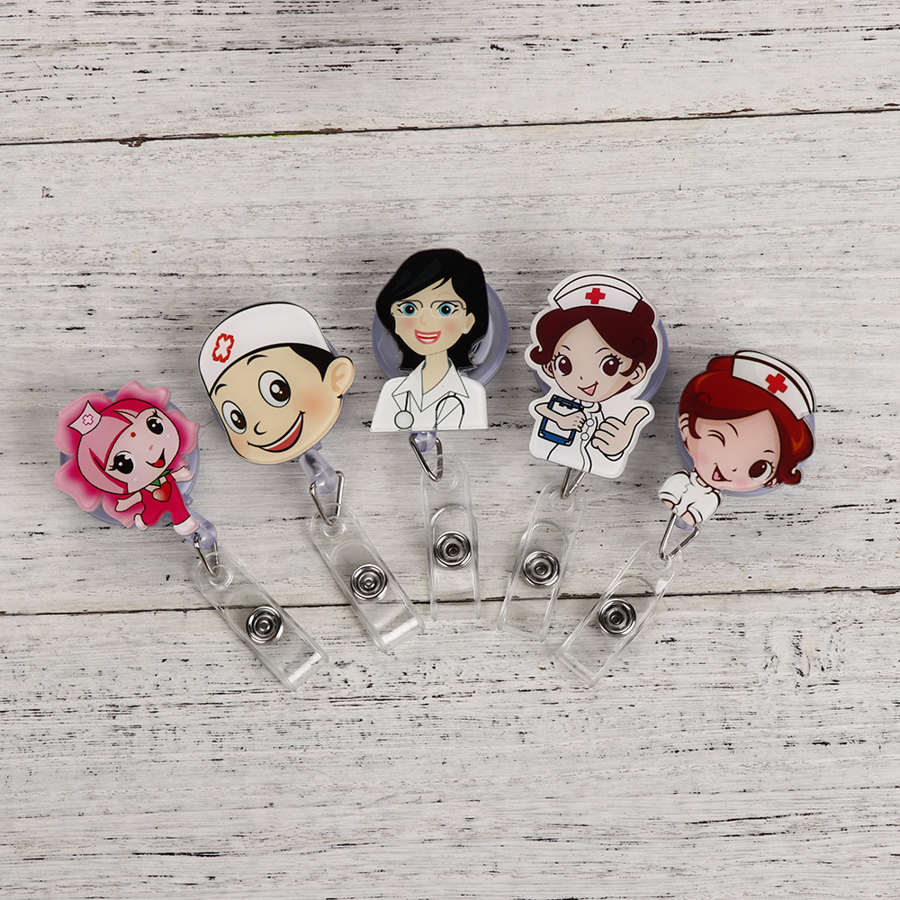 2020 Unisex Cute Cartoon Mini Retractable Badge Reel Nurse Lanyards ID Name Card Badge Holder Clip Student Nurse Badge Holder