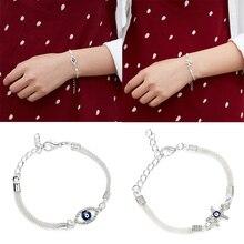 Элегантный синий сглаза Морская звезда посеребренный ECG круглый полый браслет женская серебряная цепочка браслет и браслет ювелирные изделия