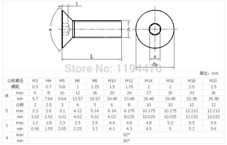 M4 M5 M6 10.9 Black Alloy Steel Countersunk Flat Head Hex Socket Screws DIN 7991