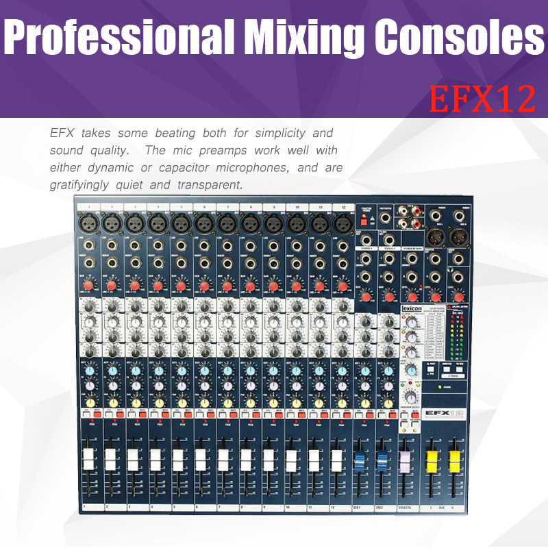 High Quality EFX12 Live Sound Mixer 12 Mono + 2 Stereo channel Mixer with Built-in 24-bit Lexicon Effects for hot selling audio mixer cms1600 3 cms compact mixing system professional live mixer with concert sound performance digital 24 48 bit effects