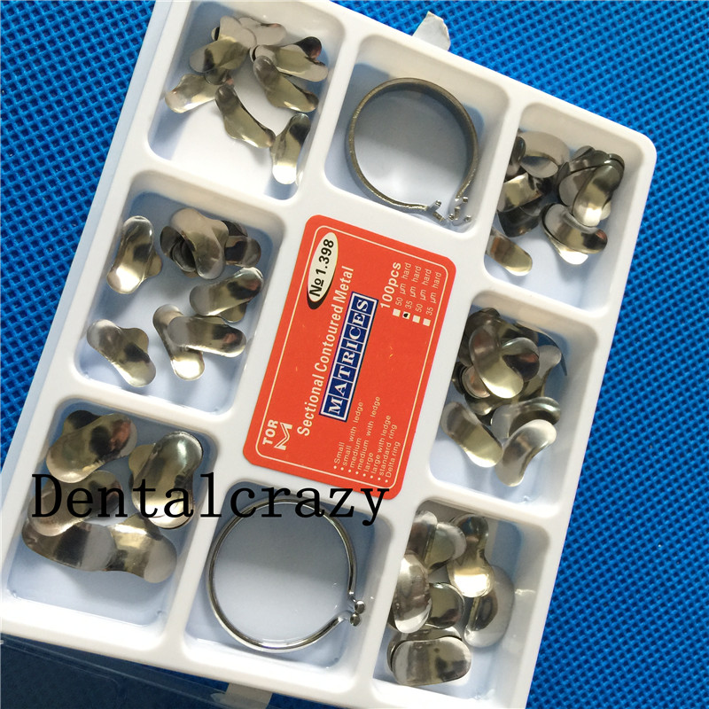 New 100Pcs Dental Matrix Sectional Contoured Metal Matrices No.1.398 + 2 Rings