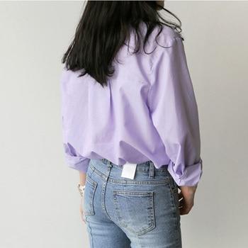 Spring Women Blouse Striped Turn-down Collar Office Lady Tops Full Sleeve Women Shirts Light Purple Fashion Female Tops blusas 3