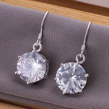 Estilo del verano fine silver plated pendientes 925-sterling-silver joyería pendientes de gota del rhinestone para para SE172