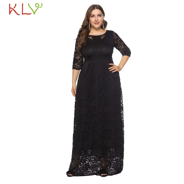 7b66a7ead367f US $9.87 46% OFF|Dress Women Elegant Big Size Black White Formal Vintage  Lace Long Dress For Evening Party Night Robe Femme Hiver 2018 18Nov29-in ...