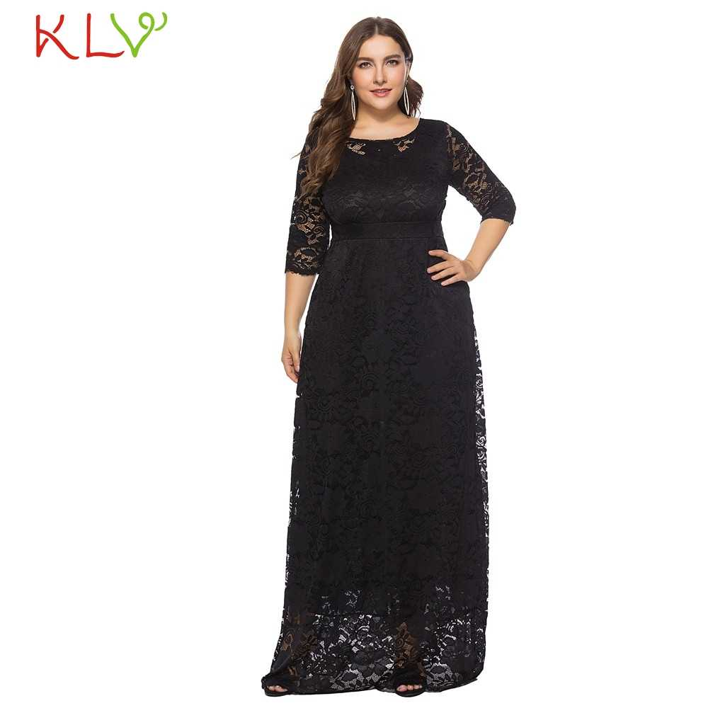 17c4f3614d Dress Women Elegant Big Size Black White Formal Vintage Lace Long Dress For Evening  Party Night