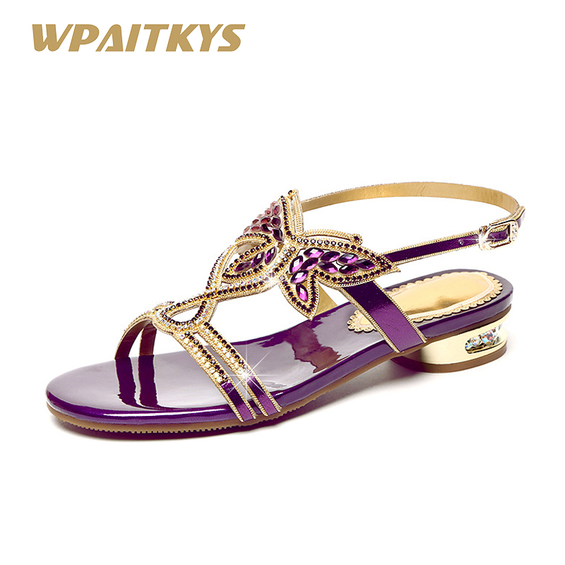 2018 Purple Black Gold Three Colors Optional Women s Sandals Sweet Leather Rhinestone Shoes Women Low