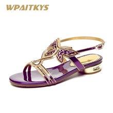 Купить с кэшбэком 2018 Purple Black Gold Three Colors Optional Women's Sandals Sweet Leather Rhinestone Shoes Women Low-heeled Diamond Sandals