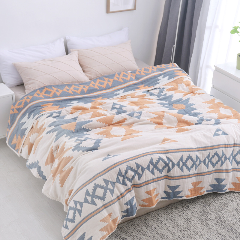 Junwell 100 Cotton Muslin Summer Blanket Bed Sofa Travel Breathable Thread Soft Throw Indian Style Blanket
