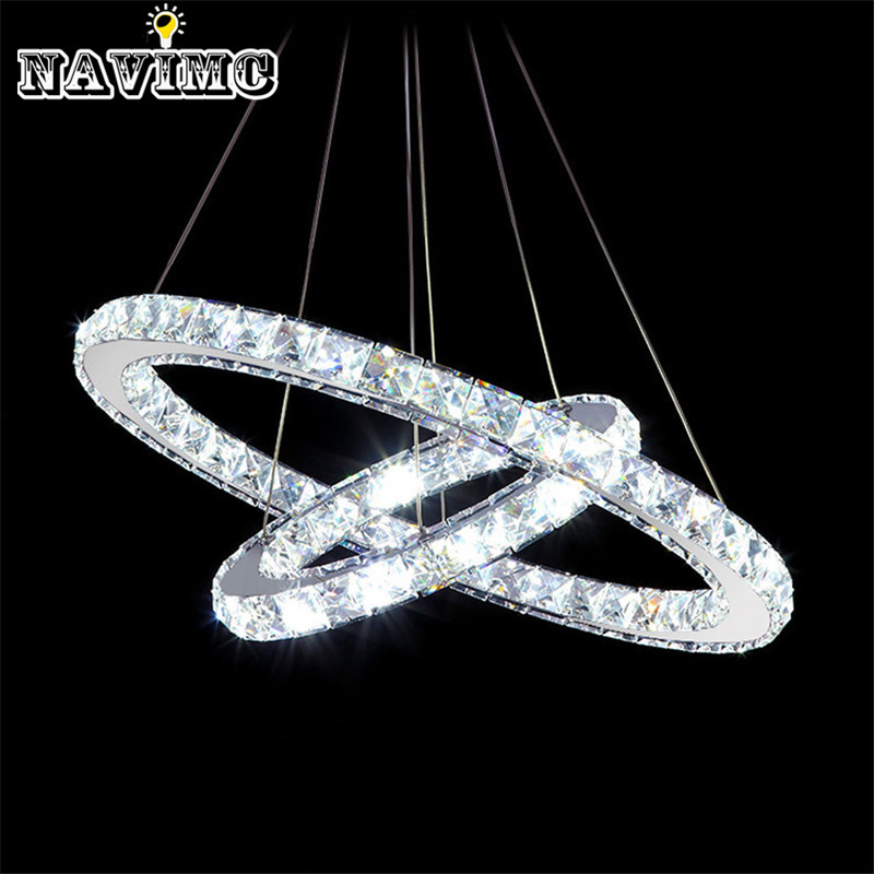 Modern Two Circles Led Crystal Chandelier Light Fixture