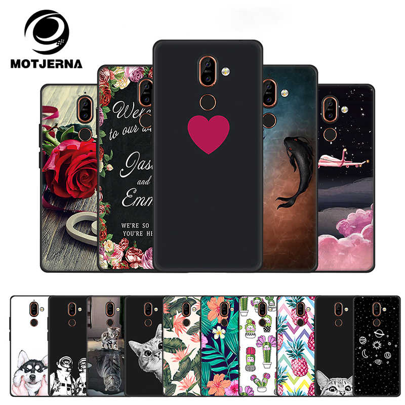 Cute Pattern Cartoon Printed TPU Case for Nokia 7 Plus 8 6 3 2018 Black Matte Fitted Case for Nokia 5 6 2018 Protective Cover