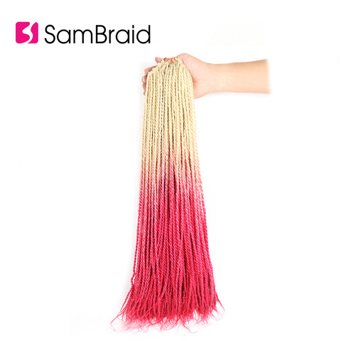 SAMBRAID Senegalese Twist Hair Crochet Braids Synthetic Braiding Hair Extensions 24 Inch 30 Roots/pack Afro Crotchet Ombre Hair Pakistan