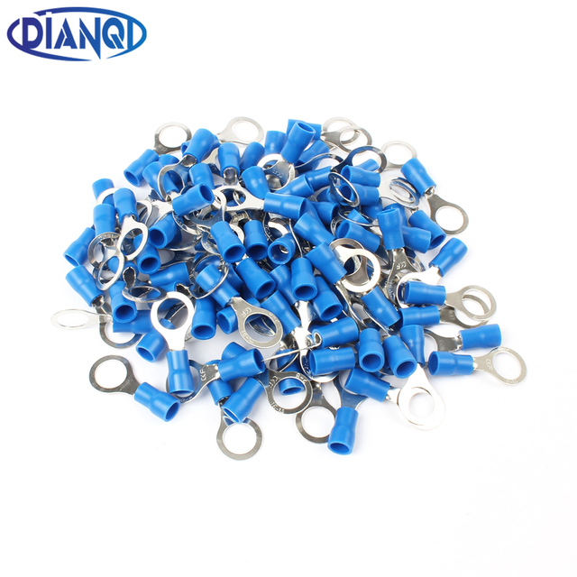 RV2 8 Blue Ring insulated terminal Cable Wire Connector 100PCS/Pack ...