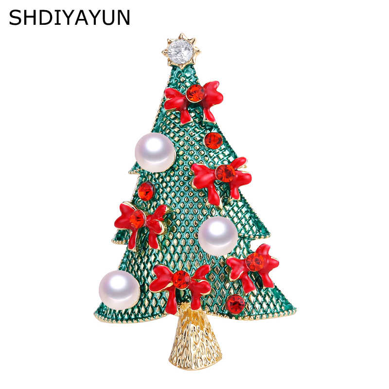 SHDIYAYUN 2019 New Pearl Brooch Christmas Tree Brooch For Women Gold Brooch Pins Natural Freshwater Pearl Jewelry Decoration