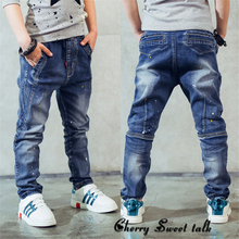Boy's denims, Children's clothes boys denims spring and autumn splash-ink youngsters pants Three four 5 6 7 eight 9 10 11 12 13 14 years previous