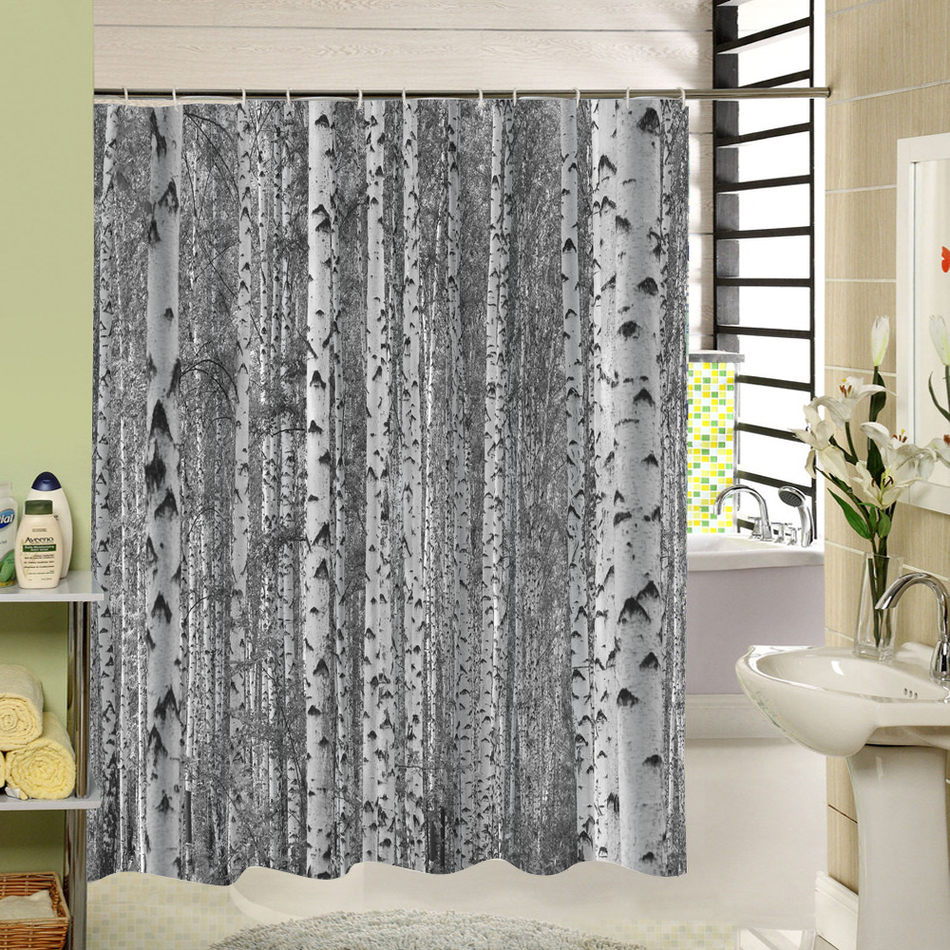 Birch tree shower curtains - Birch Tree Shower Curtain Forest Trees For Bathroom Decor Private Protective Unique Shower Curtians Fabric Liner