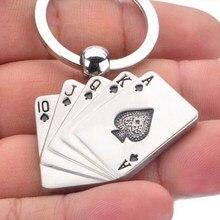 New Key Holder Metal Key Chain Ring Best Gift Poker Keychain Playing cards Keyfob Keyring