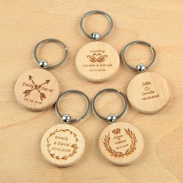 Personalized Wedding Wood Keychain