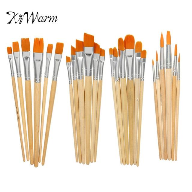 Kiwarm 6pcs Set Different Shape Nylon Hair Paint Brush Set Wooden