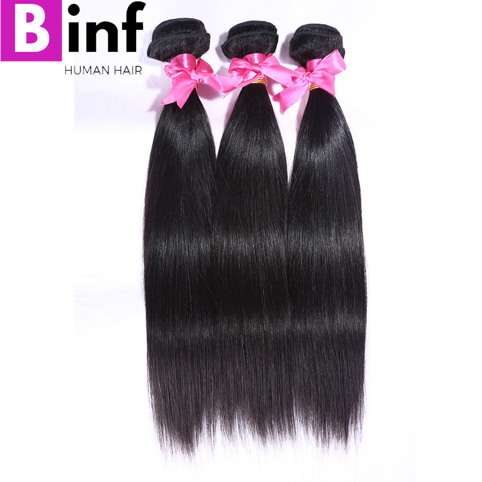 BINF Hair 3Pcs Indian Straight Hair Extensions 100% Human Hair Weave Bundles Remy Hair Natural Color 1B Soft Free Shipping